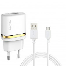 Network charger, LDNIO DL-AC50, 5V 1A, Universal , 1xUSB, With Micro USB cable, White - 14370