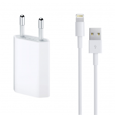 Network charger, No brand, 5V / 1A 220V, + Cable for iPhone 5/6/7, 1.0m, White - 14853