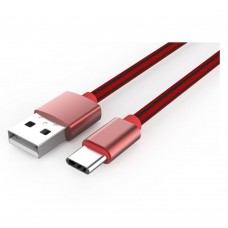 Data cable, LDNIO LS60, Type-C, 1.0m, Braided, Red - 14387