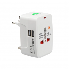 Universal travel adapter - charger No brand, 2xUSB, 1.0A, EU/US/UK/AU to EU/US/UK/AU, 220V, White - 17708
