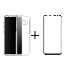 Комплект стъклен протектор + Калъф, Remax Crystal, за Samsung Galaxy S8, Черен - 52301
