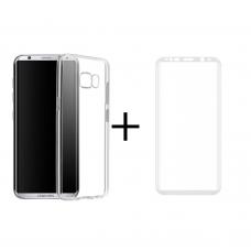 3D Стъклен протектор + Калъф, Remax Crystal, За Samsung Galaxy S8, Бял - 52302