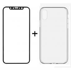 Комплект стъклен протектор + Калъф, Remax Crystal, за iPhone X, Черен - 52323