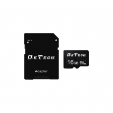 Memory card DeTech Micro SDHC-I, 16GB, Class 10 + Adapter - 62043