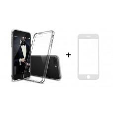 Комплект стъклен протектор със силиконови ръбове + Калъф, Remax Crystal, за iPhone 6/6S, Бял - 52237