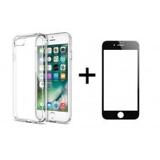 Комплект стъклен протектор с силиконови ръбове + Калъф, Remax Crystal, за iPhone 7 Plus, Черен - 52227