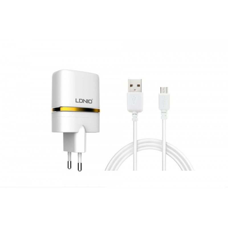 Network charger, LDNIO DL-AC52, 5V 2.4A, Universal , 2xUSB, With Micro USB cable, White - 14372 - 14372