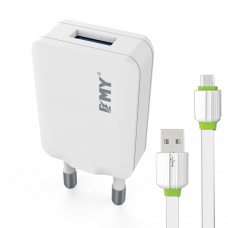 Network charger, EMY MY-223, 5V 1.0A, Universal , 1xUSB, With Micro USB cable, White - 14442