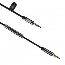 Audio cable, Remax S120, 3,5mm, with microphone, white, black - 18287