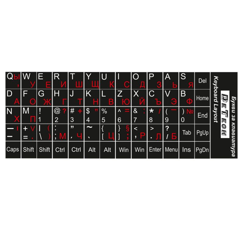 Letters for keyboard  DeTech,Cyrilic and Latin, Black - 17030 - 17030