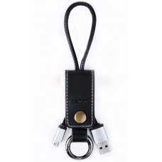 Data cable micro USB, Remax RC-034I, Key ring, leather, Black - 14341