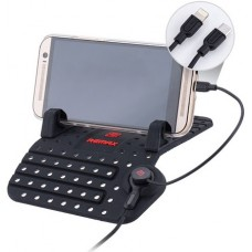 Mobile phone holder with cable for Lighting and micro USB, Remax RC-FC1, Universal, black - 17255