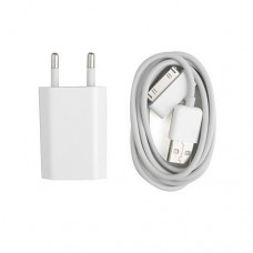 Мрежово зарядно устройство No brand Тravel за Iphone 4/4S, USB адаптер 5V/1A 220V, Кабел за данни - 14018